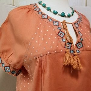 Nine West Tops - Nine West Boho Coral Turquoise Cotton Top S